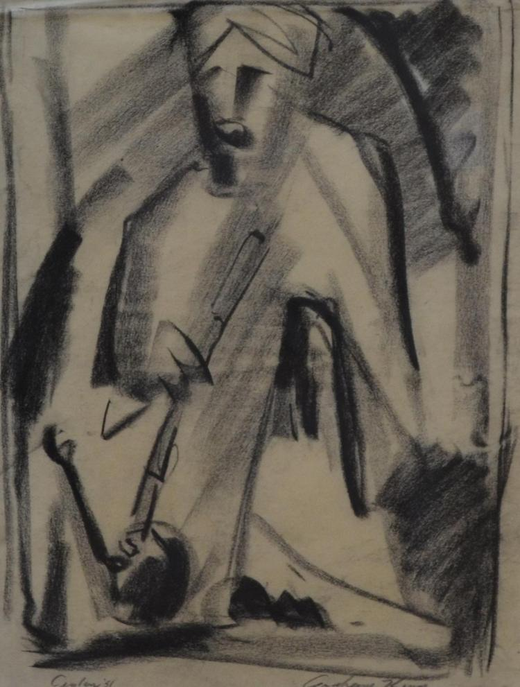 GRAHAME KING, CEYLON 1951, CHARCOAL, 34 X 25CM