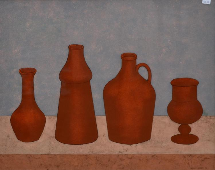 GEOFF JONES, STILL LIFE WITH POTS 1992, OIL ON PERSPEX, 48 X 59CM