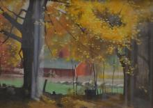 PERCY LEASON, AUTUMN COLOURS, WATERCOLOURS, 37 X 54CM