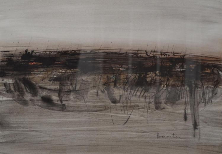 NATHAN PARAMANATHAN, ABSTRACT LANDSCAPE, INK, 35 X 50CM