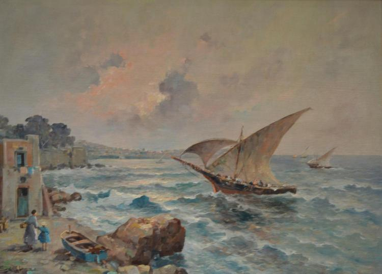 SIGNED ILLEGIBLY, ITALIAN SCHOOL SEASCAPE WITH BOATS, OIL ON CANVAS ON BOARD, 56 X 78CM