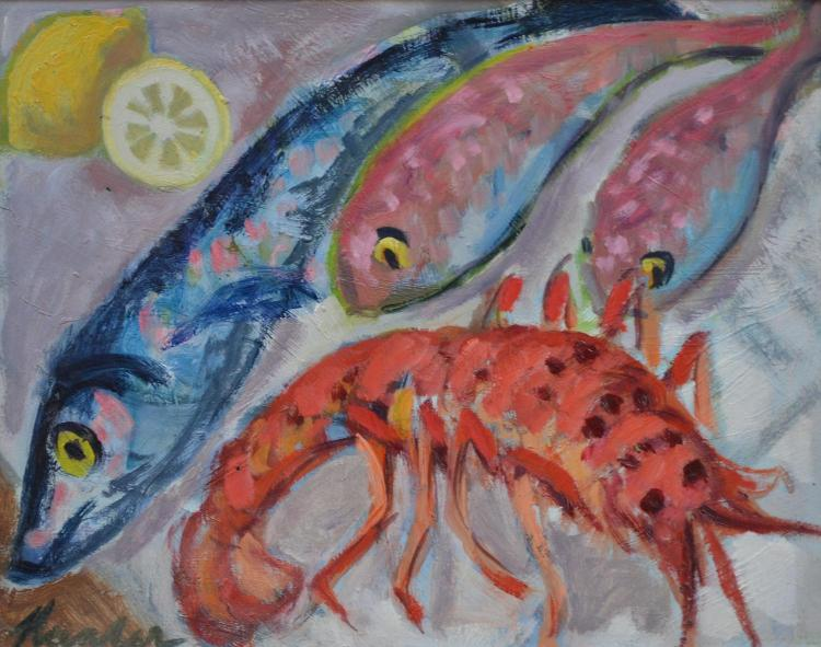 NADA HUNTER, SEAFOOD, OIL ON BOARD, 29.5 X 37.5CM