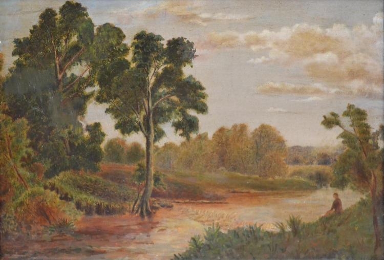 ARTIST UNKNOWN, COLONIAL LANDSCAPE, OIL ON CANVAS, 29 X 44CM