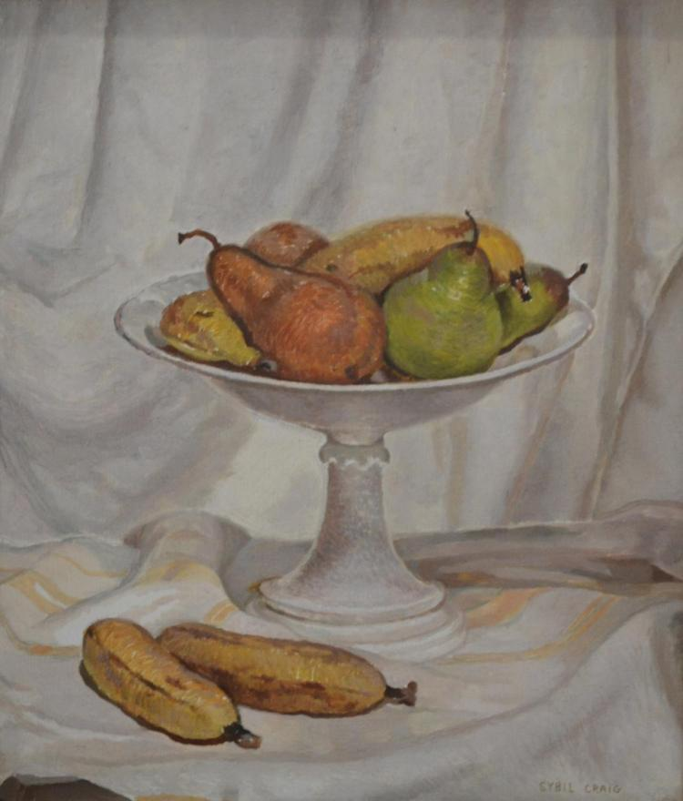 SYBIL CRAIG, STILL LIFE WITH FRUIT, OIL ON CANVAS, 39 X 34CM