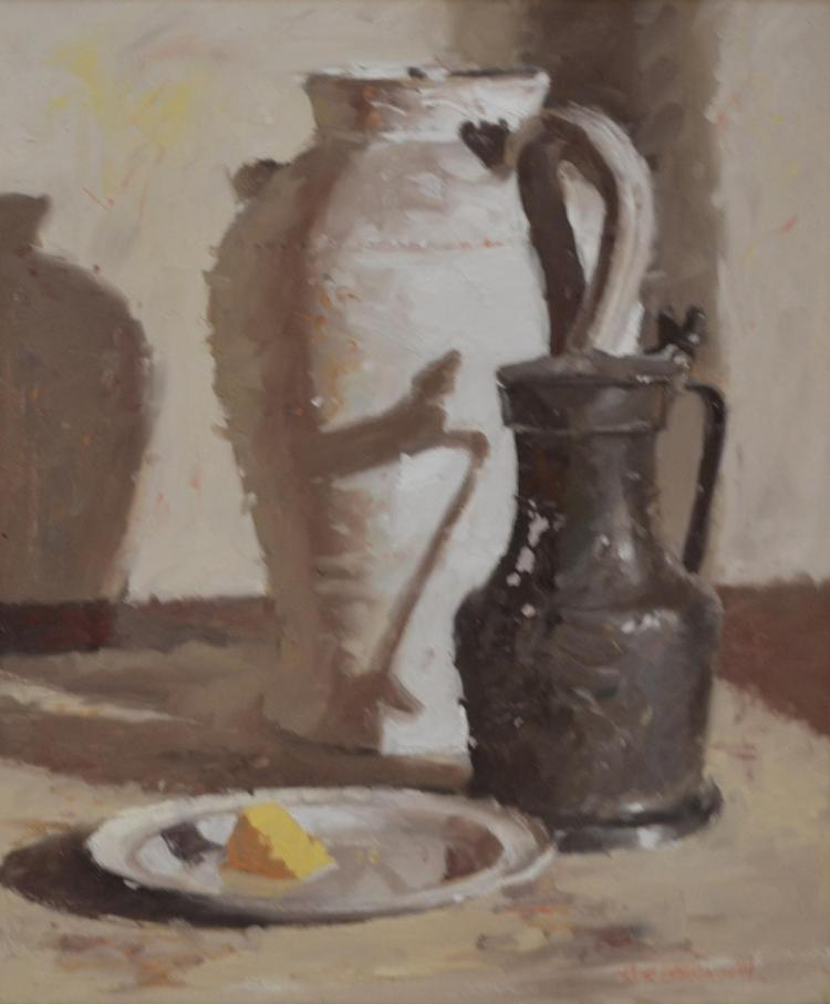 RICK EVERINGHAM, STILL LIFE, OIL ON CANVAS, 43.5 X 36 CM