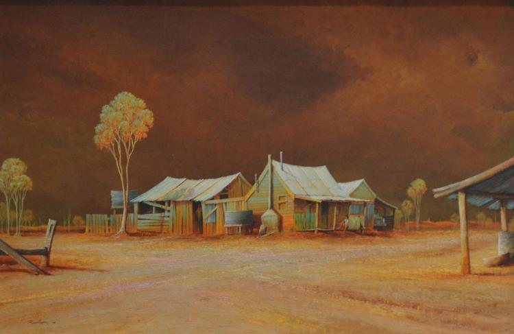 JOHN POINTON, BARWON HOMESTEAD, OIL ON BOARD, 48 X 74CM, SIGNED LOWER RIGHT: POINTON'74