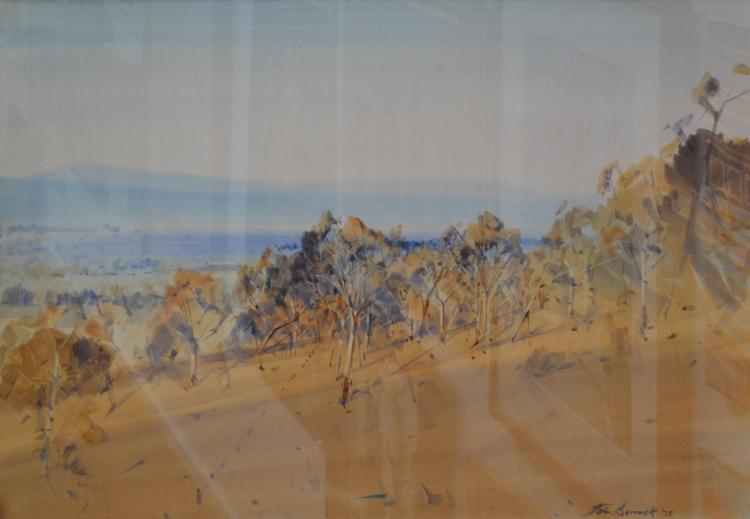 JOHN BORRACK, LANDSCAPE 1975, WATERCOLOUR, 51 X 74CM