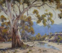 FRED KLIX, BUNGEROO GORGE, OIL ON CANVASBOARD, 37 X 44 CM