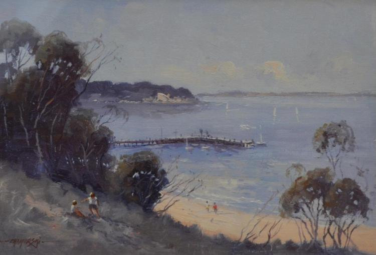 RICHARD CHAMERSKI, AFTERNOON AT PORTSEA, OIL ON CANVASBOARD, 21 X 30 CM