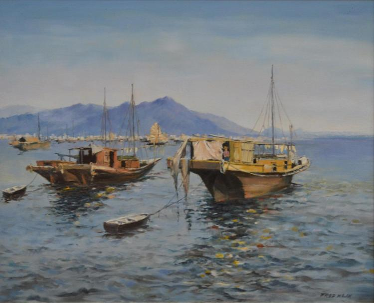 FRED KLIX, JUNKS IN SAI KING HARBOUR, HONG KONG, OIL ON BOARD, 40 X 50 CM