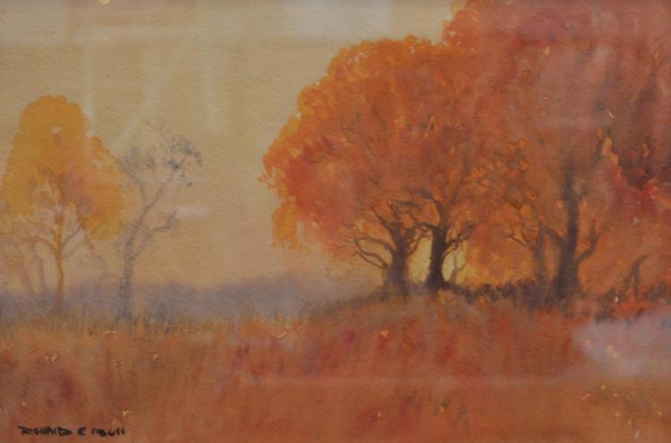 RONALD E BULL, AUTUMN LANDSCAPE, WATERCOLOUR, 22 X 33 CM