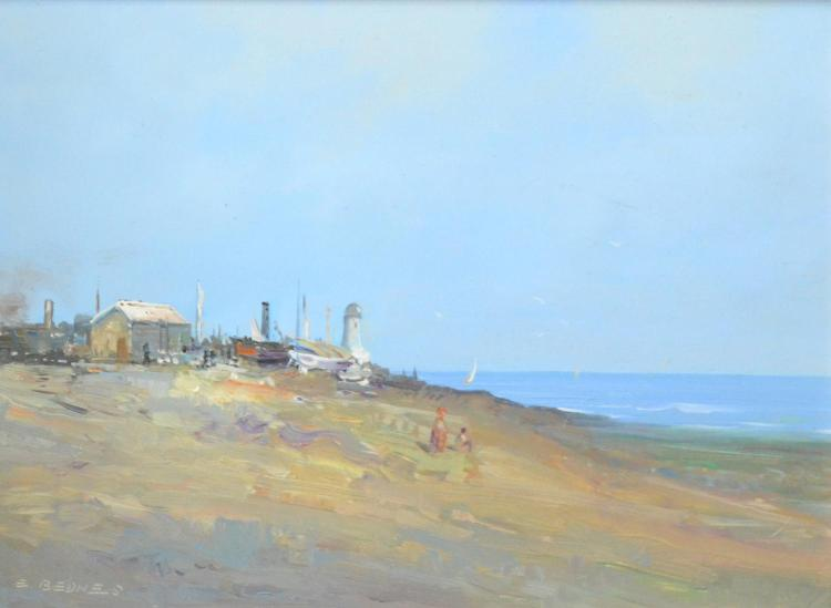 E. BEDNES, BEACHTOWN VIEW, OIL ON BOARD, 29 X 40 CM