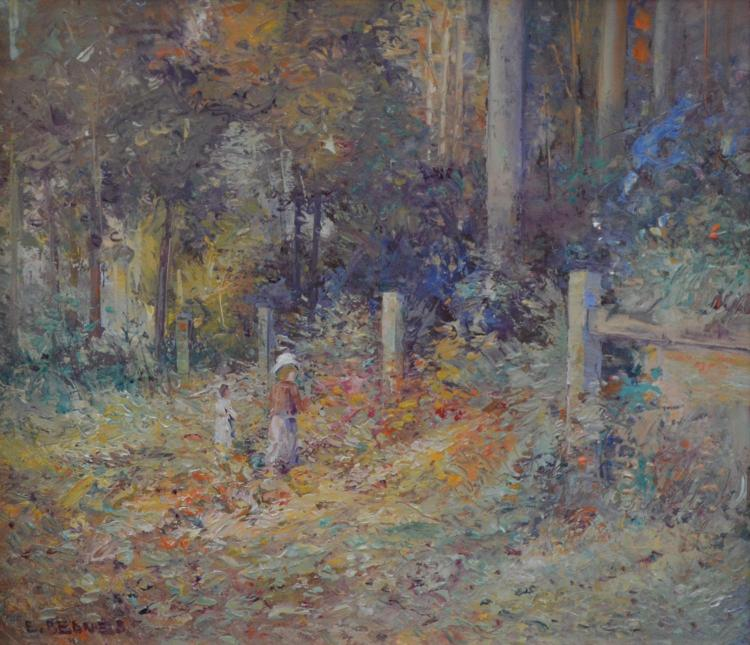 E. BEDNES, CHILDREN IN THE GARDEN, OIL ON BOARD, 26 X 35 CM
