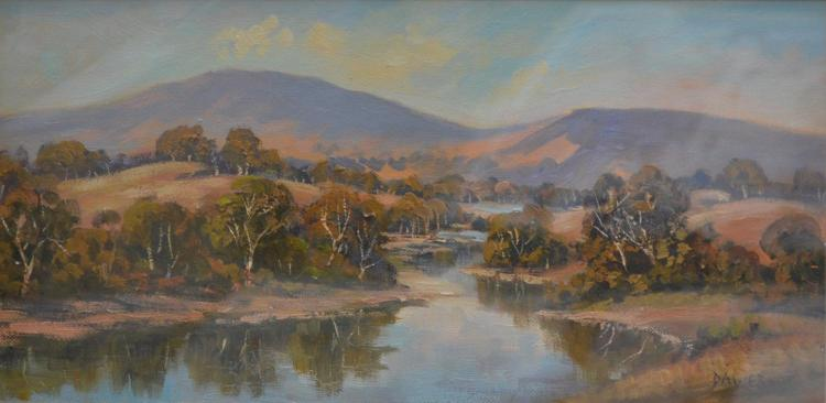 JENNY DAWES, OVENS RIVER, OIL ON CANVAS BOARD, 19 X 39 CM