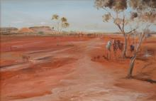 KEITH NAUGHTON, OUTBACK LANDSCAPE, OIL ON CANVAS BOARD, 60 X 90 CM