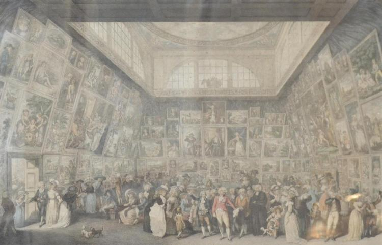 P. MARTINI, EXHIBITION OF THE ROYAL ACADEMY 1787, ENGRAVING, 32 X 49 CM