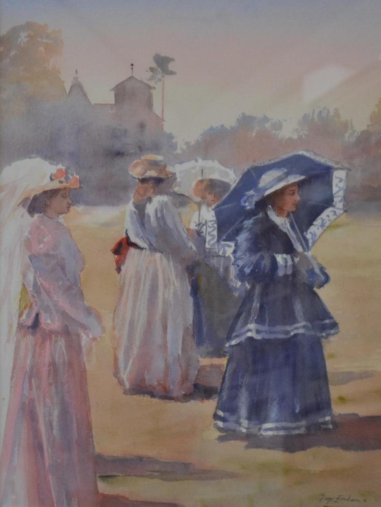 GAYE BONHAM, LADIES WITH PARASOLS, WATERCOLOUR, 54 X 41CM