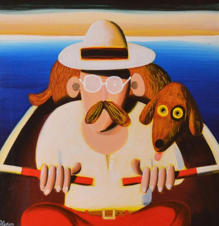 SIGNED OLSSON, MAN WITH DOG, OIL ON BOARD, 58 X 58CM
