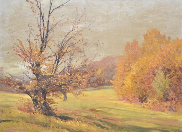 SIGNED ILLEGIBLY, AUTUMN LANDSCAPE, OIL ON BOARD, 40 X 55 CM