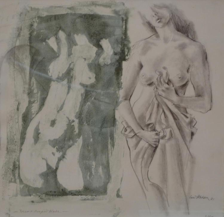LOUIS KAHAN, TORSO AND DRAPED NUDE, MIXED MEDIA ON PAPER, 40 X 40 CM