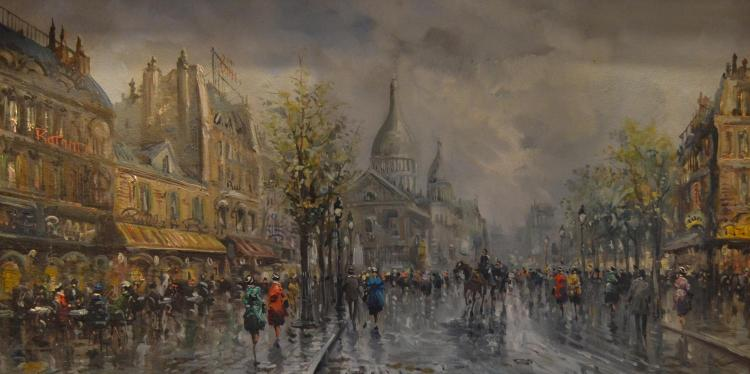 ARTIST UNKNOWN (SIGNED ILLEGIBALY), EUROPEAN STREET SCENE, OIL ON CANVAS BOARD, 60 X 120 CM