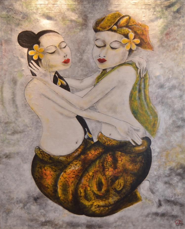 SIGNED WISNU, BALINESE COUPLE EMBRACING, ACRYLIC ON CANVAS, 135 X 107 CM