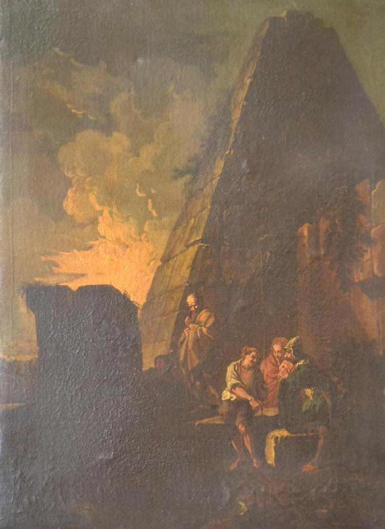 ARTIST UNKNOWN, LANDSCAPE WITH FIGURES, OIL ON CANVAS LAID ON CANVAS (UNFRAMED), 64 X 48CM