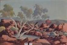 CLAUDE PANNKA, CENTRAL AUSTRALIAN, LANDSCAPE, WATERCOLOUR, 35 X 50CM