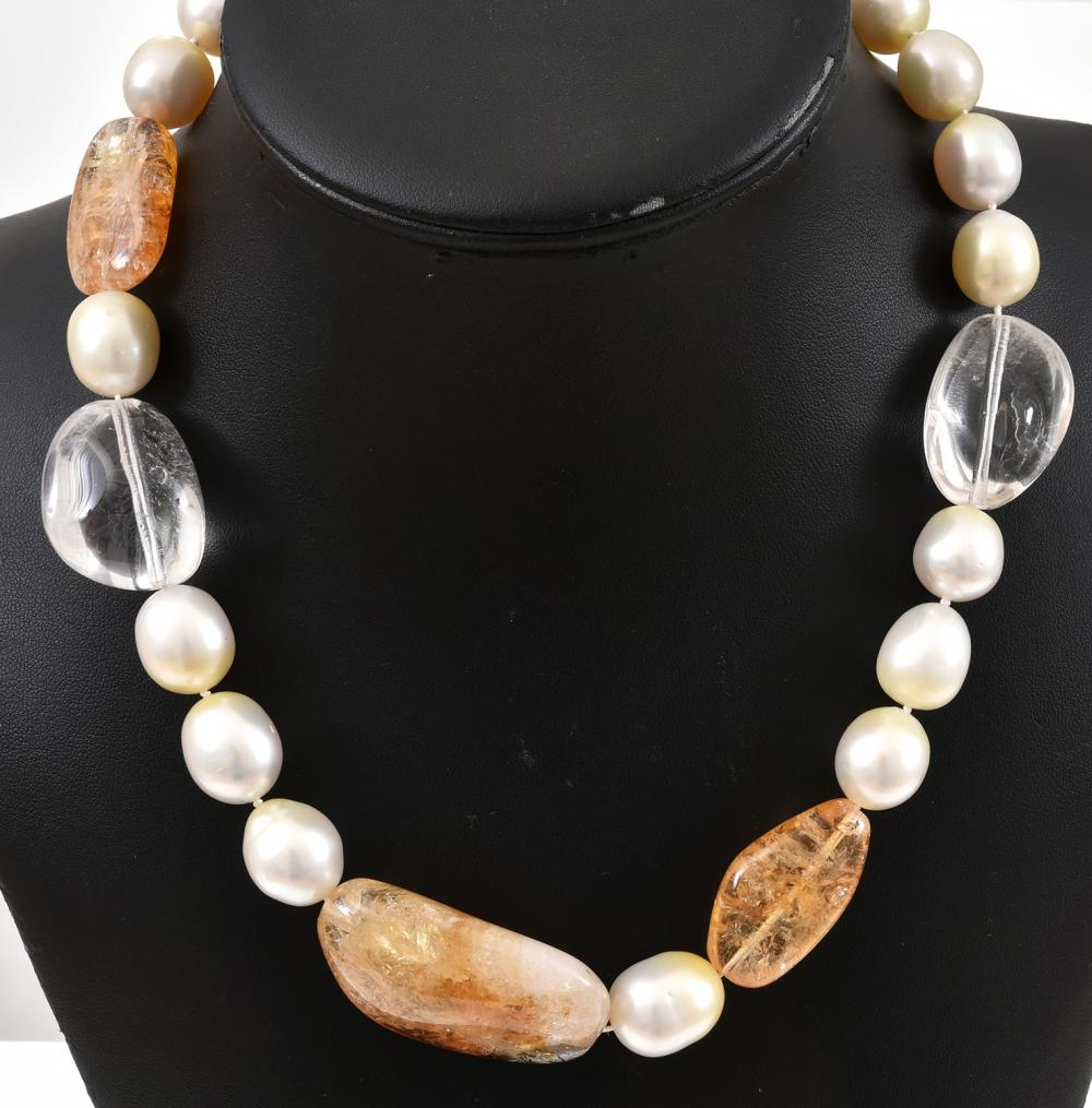 A CITRINE, QUARTZ AND SOUTH SEA PEARL NECKLACE WITH WHITE GOLD MAGNETIC CLASP