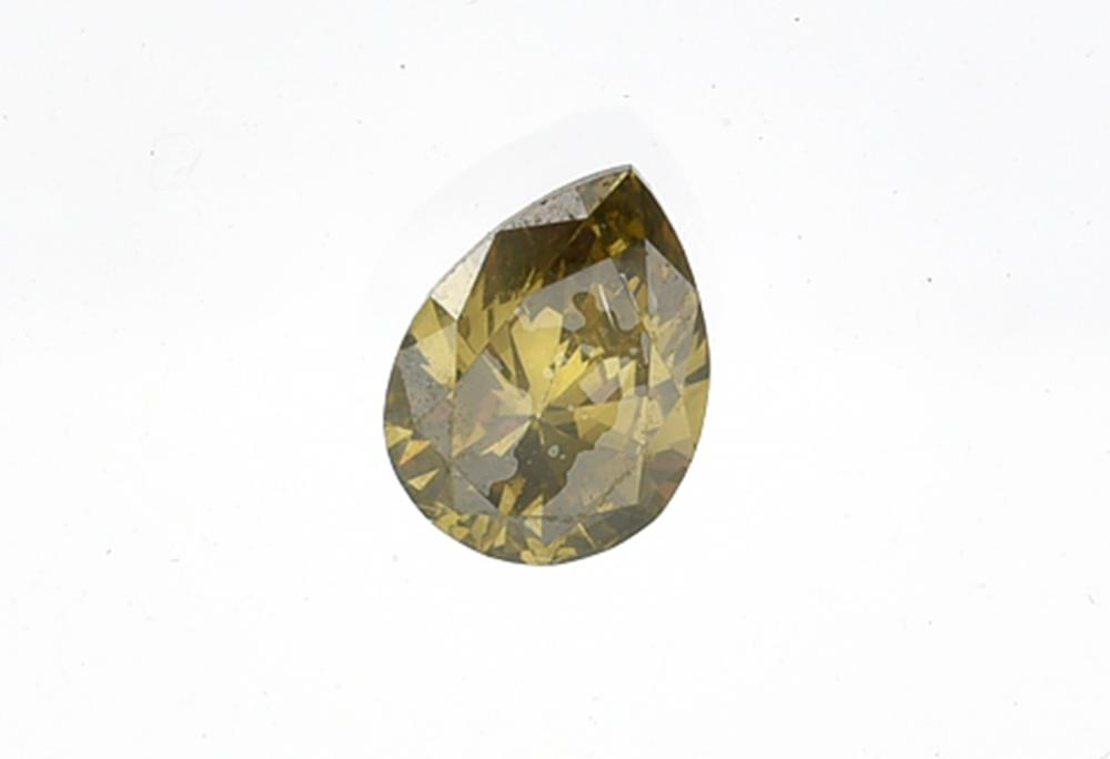 A FANCY COLOURED TEARDROP DIAMOND WEIGHING APPROXIMATELY 0.73CTS