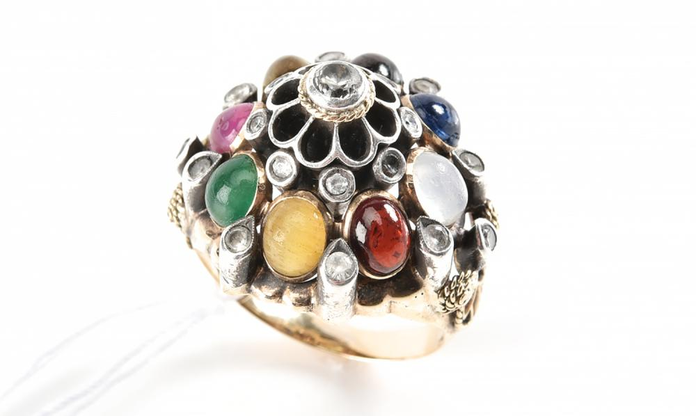 A MULTI GEM SET PRINCESS RING IN 9CT GOLD