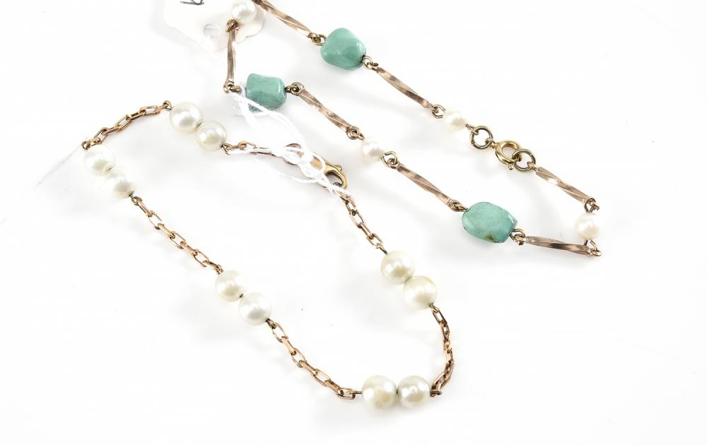 A CULTURED PEARL SET BRACELET TOGETHER WITH A CULTURED PEARL AND TURQUOISE SET BRACELET