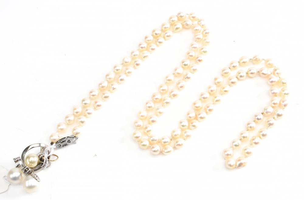 A COLLECTION OF PEARL JEWELLERY, COMPRISING A NECKLACE, A DIAMOND SET RING AND TWO SINGLE EARRINGS