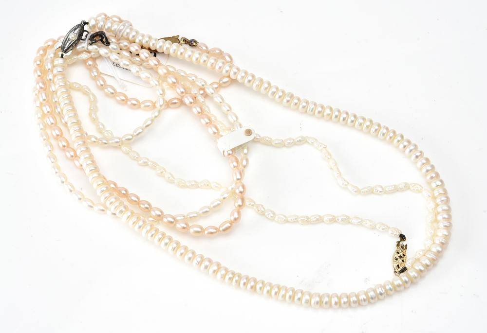 A COLLECTION OF FOUR FRESHWATER PEARL NECKLACES