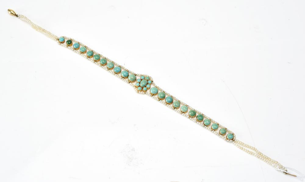 A TURQUOISE AND PEARL NECKLACE