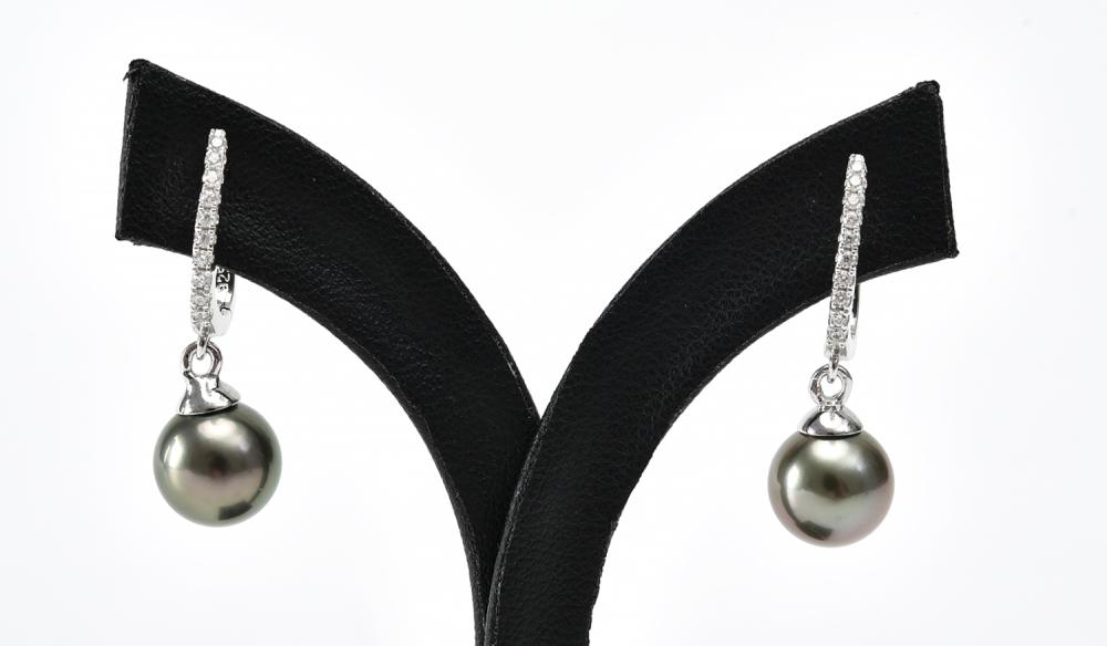 A PAIR OF TAHITIAN PEARL AND CUBIC ZIRCONIA EARRINGS IN STERLING SILVER