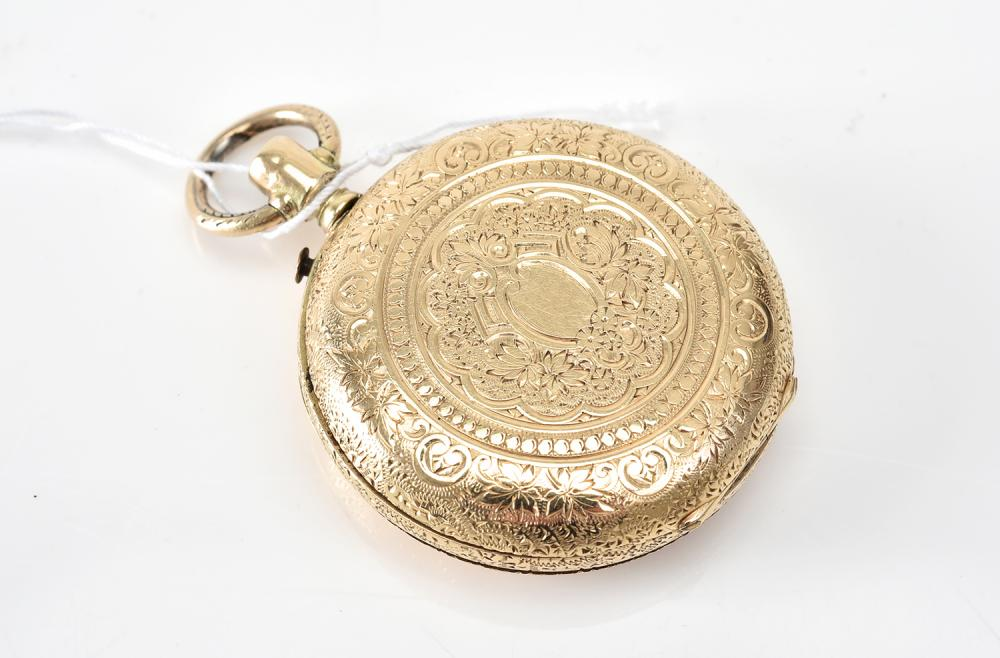 A WATCH CASE PENDANT IN 14CT GOLD
