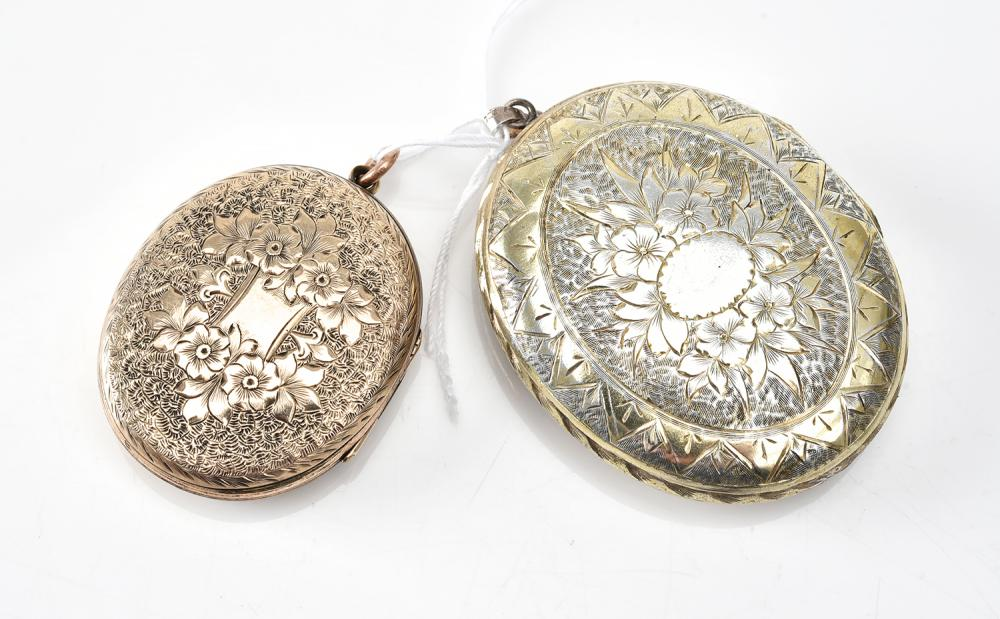 TWO ANTIQUE LOCKETS IN SILVER AND ROLLED GOLD