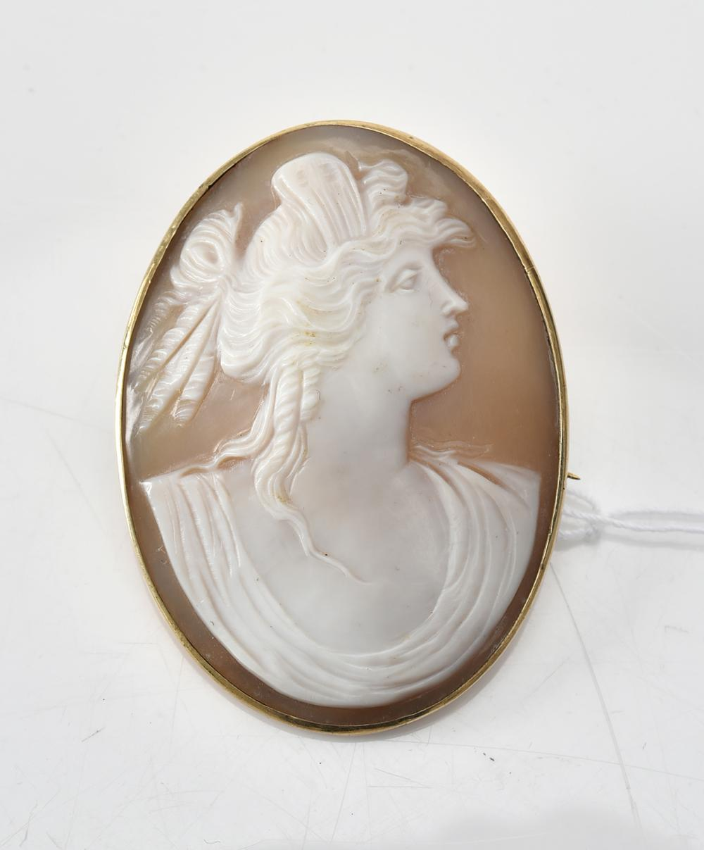 A SHELL CAMEO IN 9CT GOLD, HALLMARKED