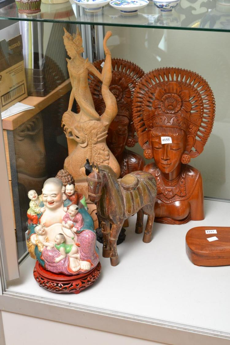 A COLLECTION OF ASIAN FIGURES INCLUDING BALINESE