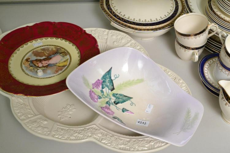 AN OLD COUNTRY ROSES SERVING TRAY, A CARLTON WARE DISH AND ONE OTHER