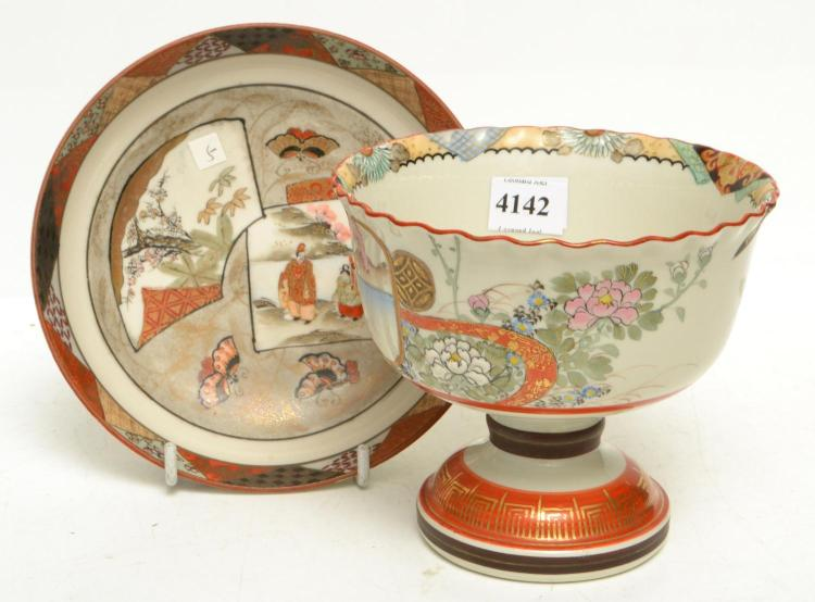 A JAPANESE MEIJI PERIOD KUTANI WARE FOOTED COMPORT WITH ALL OVER GILT AND HAND PAINTED DECORATIONS, HEIGHT 13 CM AND SIMILAR CIRCULA...
