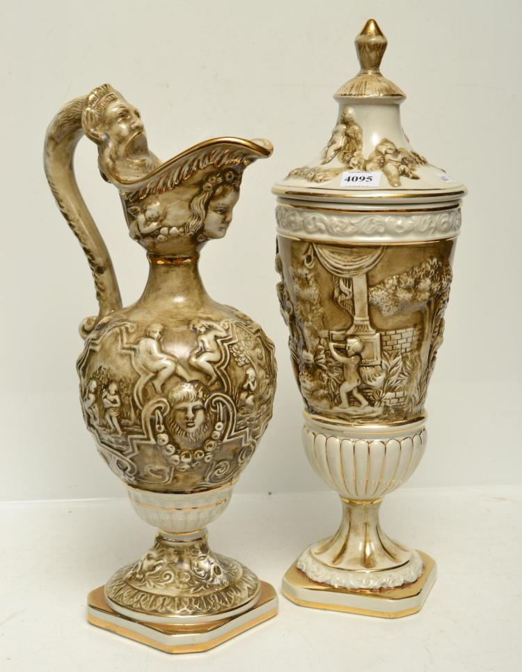 A CAPPODIMONTE LIDDED URN AND EWER