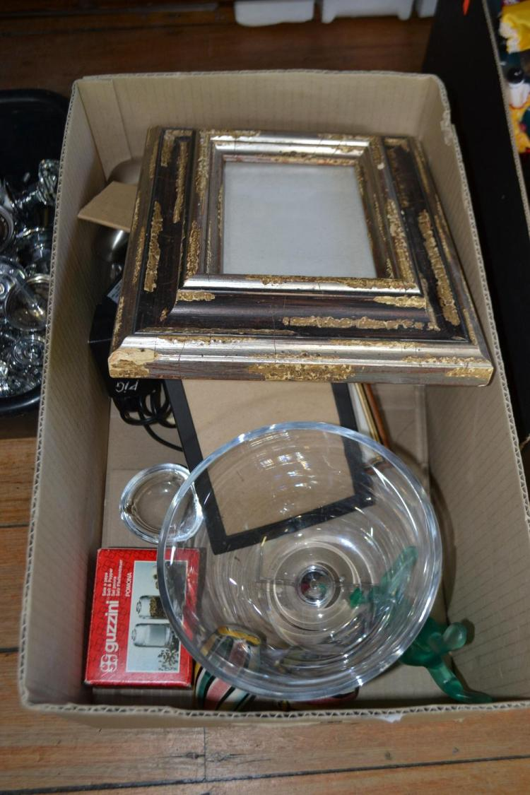 A BOX OF ASSORTED ITEMS INCLUDING CRYSTAL BOWL, PICTURE FRAMES ETC