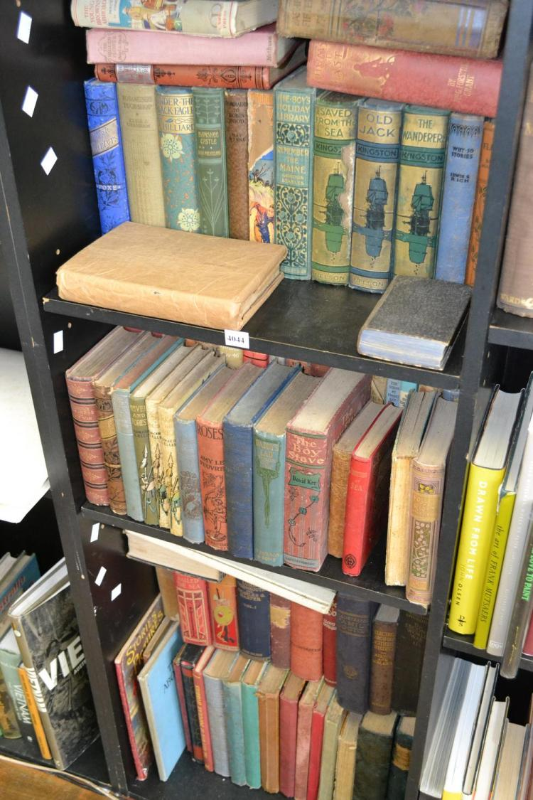THREE SHELVES OF DECORATIVELY BOUND CHILDRENS BOOKS (FAULTS)
