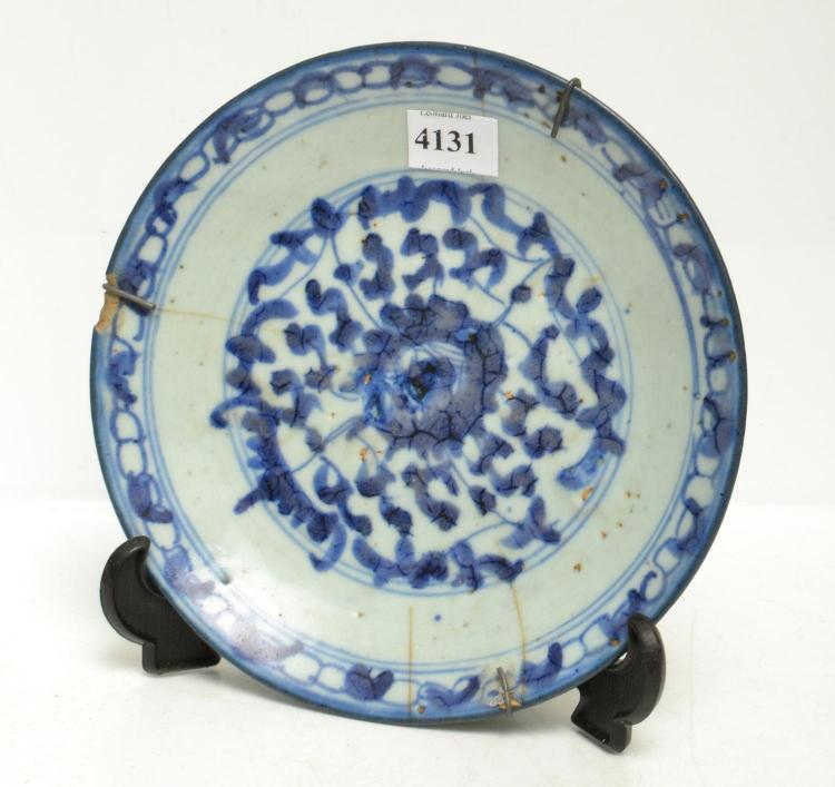 TWO CHINESE BLUE AND WHITE PLATES, MING MARK, 19TH CENTURY (DAMAGES)