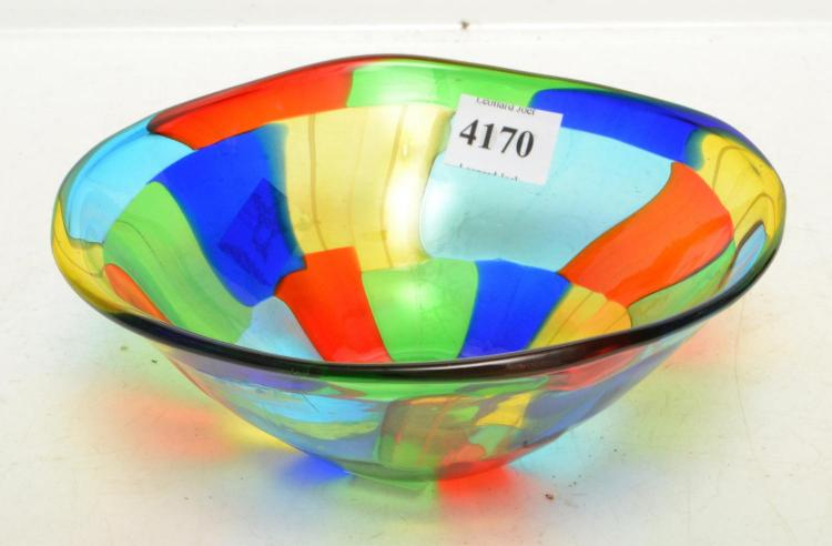 A MURANO F AND M BALLARIN PEZZATO GLASS BOWL BU ANGELO BALLARIN, SIGNED AND LABELED, 15 CM DIAMETER