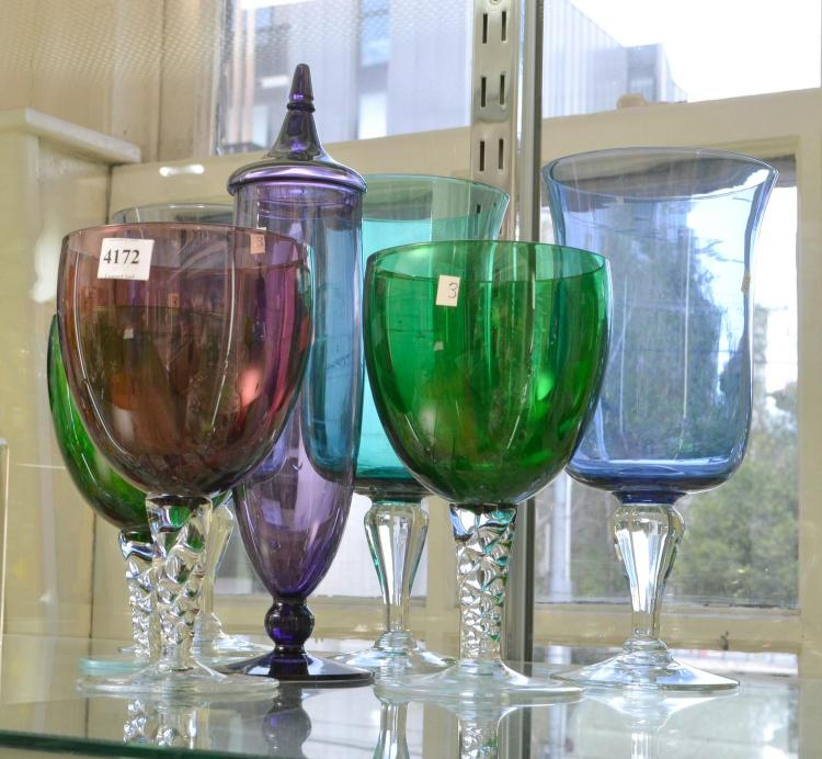 COLLECTION OF SEVEN COLOURED ART GLASS VASES