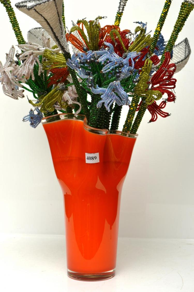 A BOUQUET OF AFRICAN BEAD WORK FLOWERS