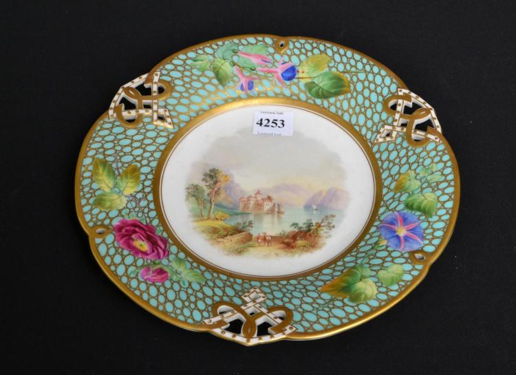 A FRENCH HAND PAINTED PLATE